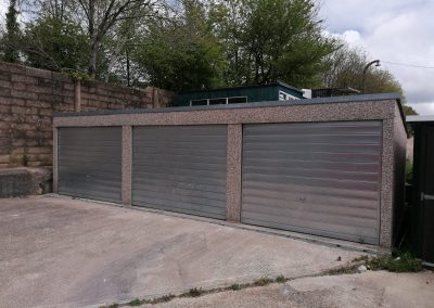 A pair of adjoining modern lock-up garages on the northern outskirts of Newport – available for sale singly or together.